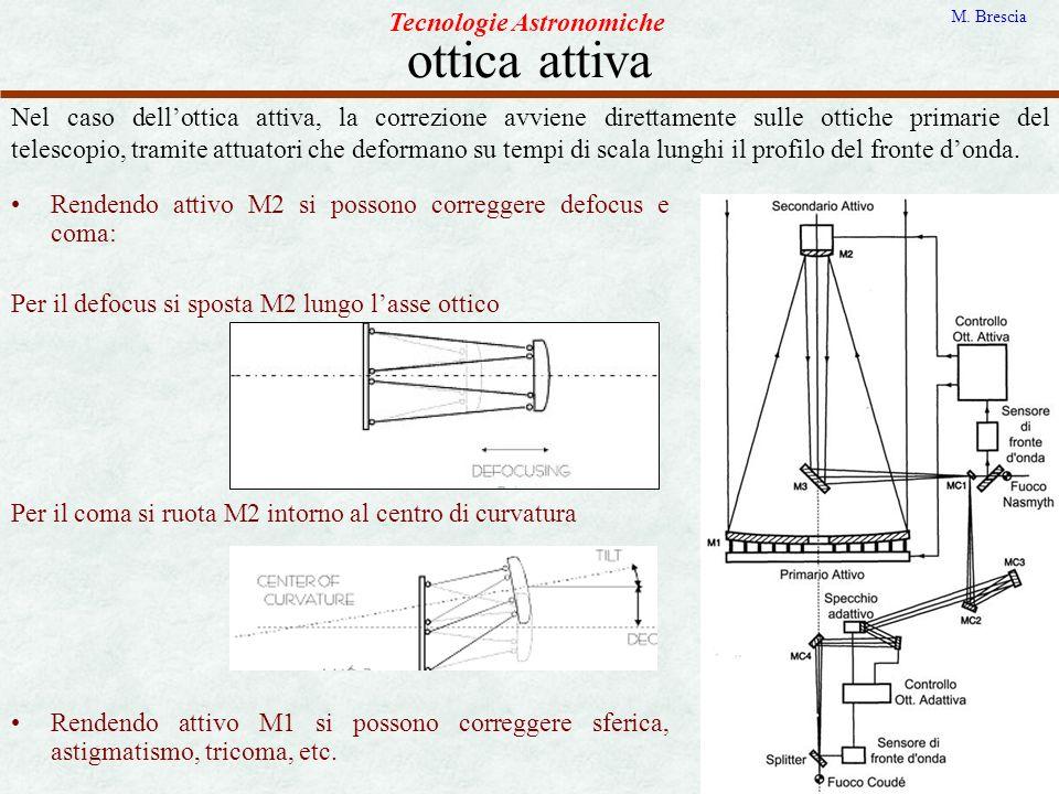 ottica attiva Tecnologie Astronomiche M. Brescia Nel caso dellottica attiva, la correzione avviene direttamente sulle ottiche primarie del telescopio,