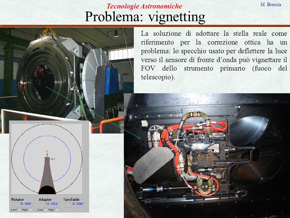 Problema: vignetting Tecnologie Astronomiche M. Brescia La soluzione di adottare la stella reale come riferimento per la correzione ottica ha un probl