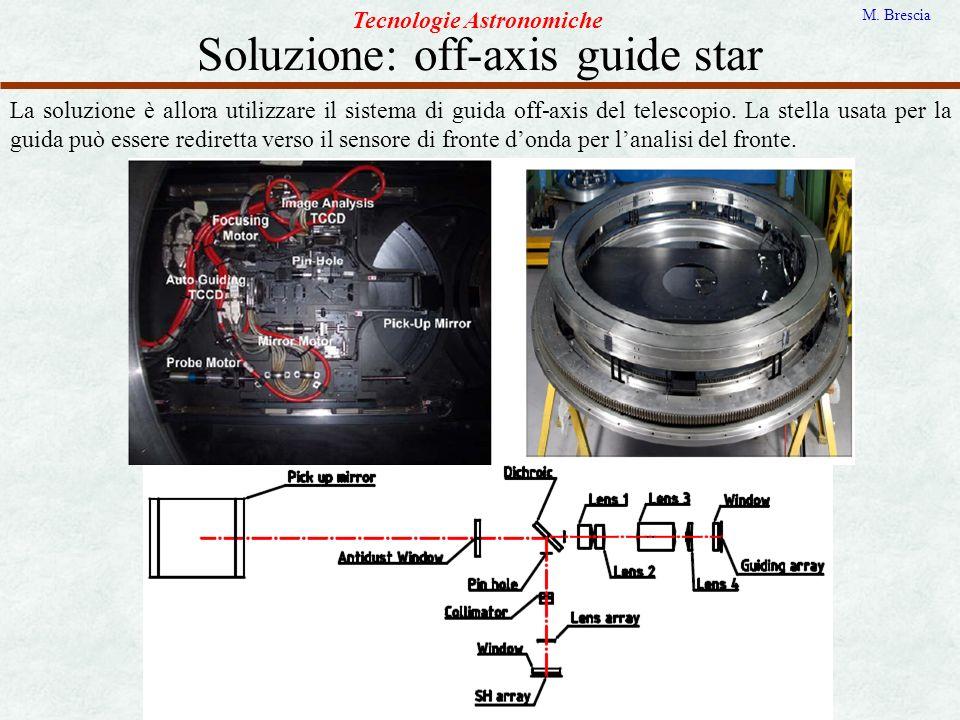 Soluzione: off-axis guide star Tecnologie Astronomiche M. Brescia La soluzione è allora utilizzare il sistema di guida off-axis del telescopio. La ste