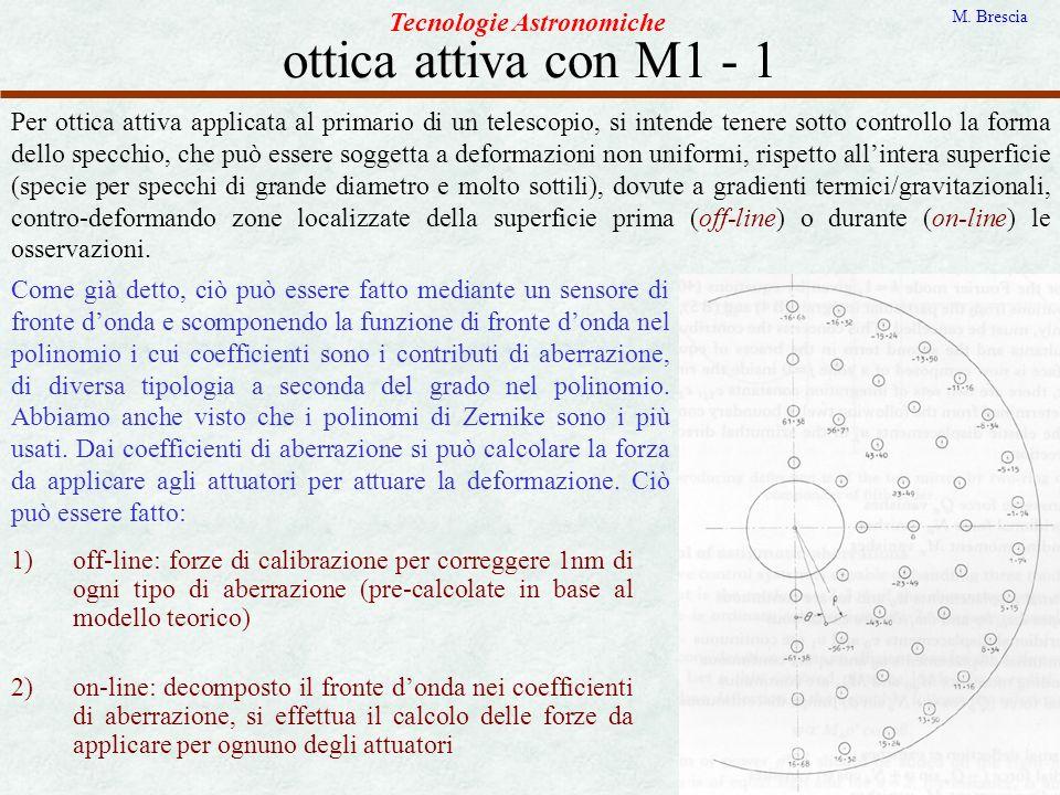 ottica attiva con M1 - 1 Tecnologie Astronomiche M. Brescia Per ottica attiva applicata al primario di un telescopio, si intende tenere sotto controll