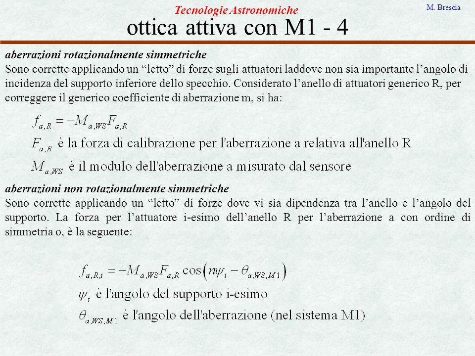 ottica attiva con M1 - 4 Tecnologie Astronomiche M. Brescia aberrazioni rotazionalmente simmetriche Sono corrette applicando un letto di forze sugli a