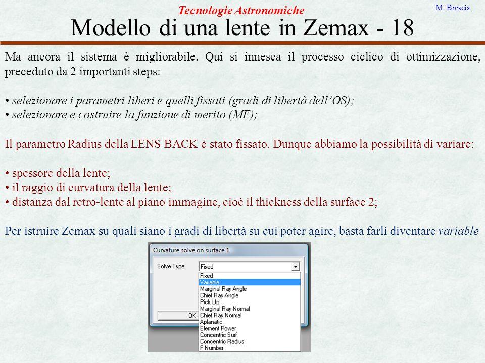 Modello di una lente in Zemax - 18 Tecnologie Astronomiche M. Brescia Ma ancora il sistema è migliorabile. Qui si innesca il processo ciclico di ottim