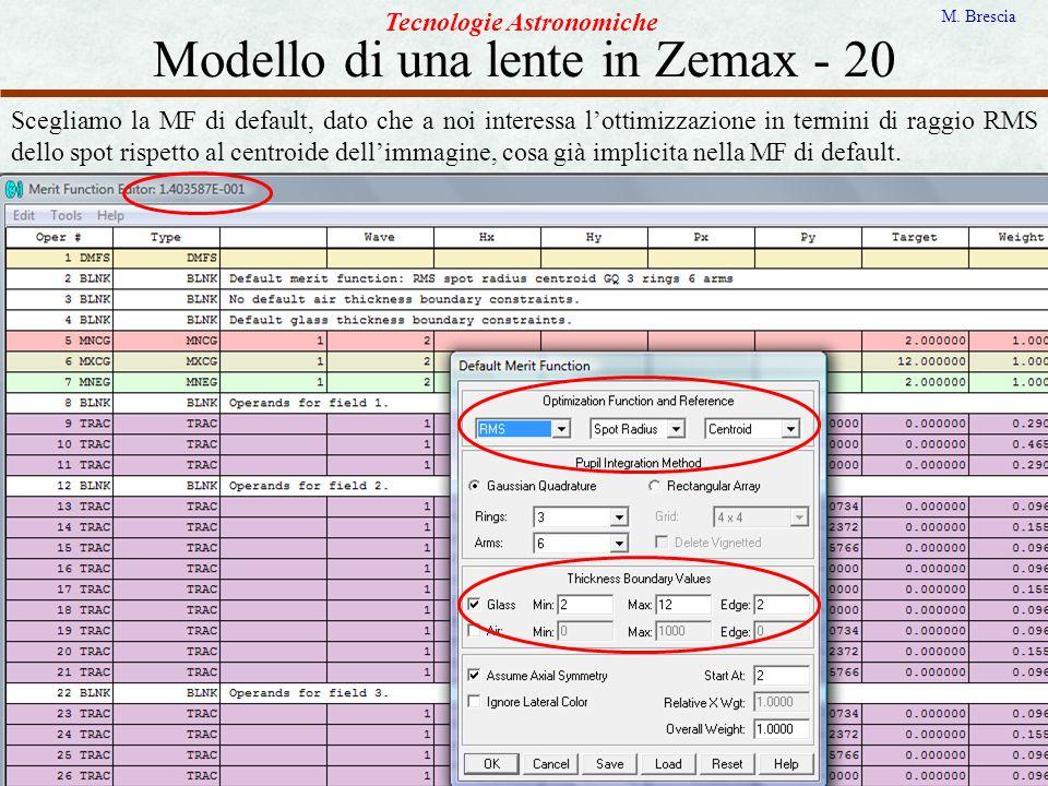 Modello di una lente in Zemax - 20 Tecnologie Astronomiche M. Brescia Scegliamo la MF di default, dato che a noi interessa lottimizzazione in termini
