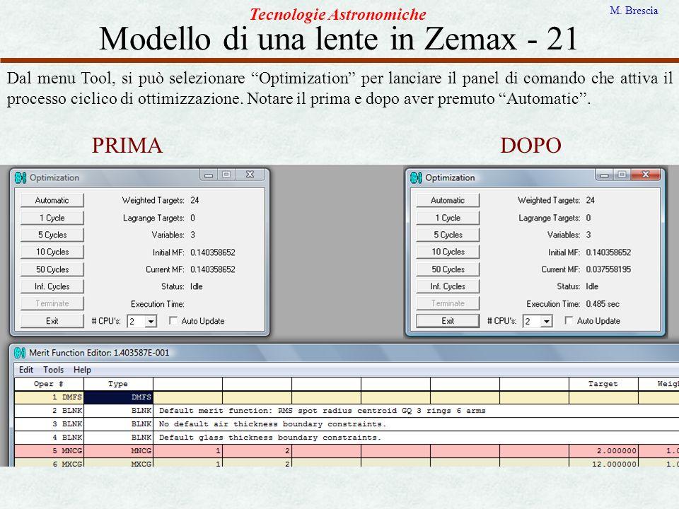 Modello di una lente in Zemax - 21 Tecnologie Astronomiche M. Brescia Dal menu Tool, si può selezionare Optimization per lanciare il panel di comando
