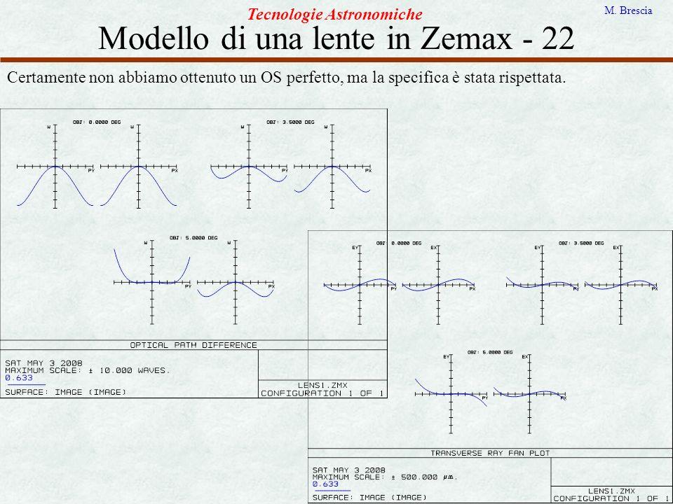 Modello di una lente in Zemax - 22 Tecnologie Astronomiche M. Brescia Certamente non abbiamo ottenuto un OS perfetto, ma la specifica è stata rispetta