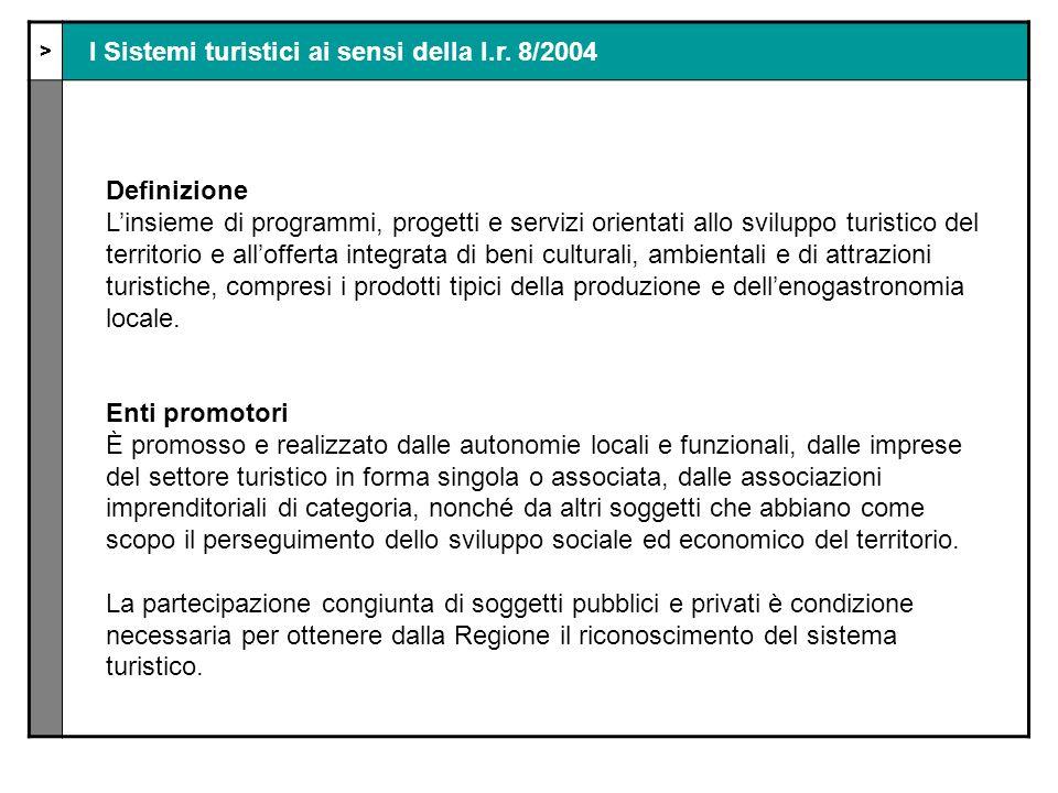 > I Sistemi turistici ai sensi della l.r.