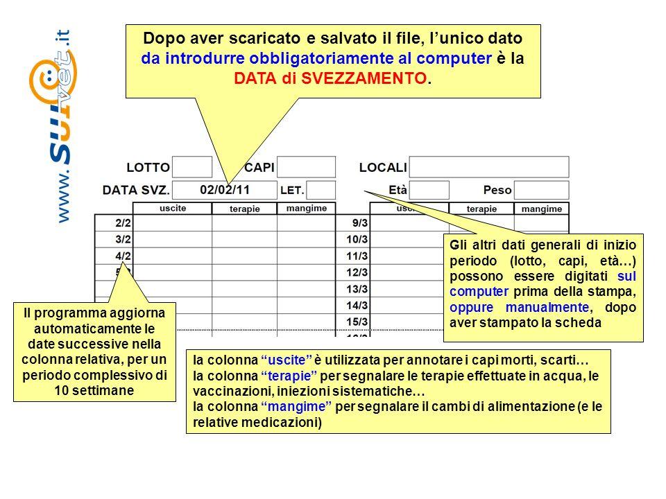 Dopo aver scaricato e salvato il file, lunico dato da introdurre obbligatoriamente al computer è la DATA di SVEZZAMENTO. Gli altri dati generali di in