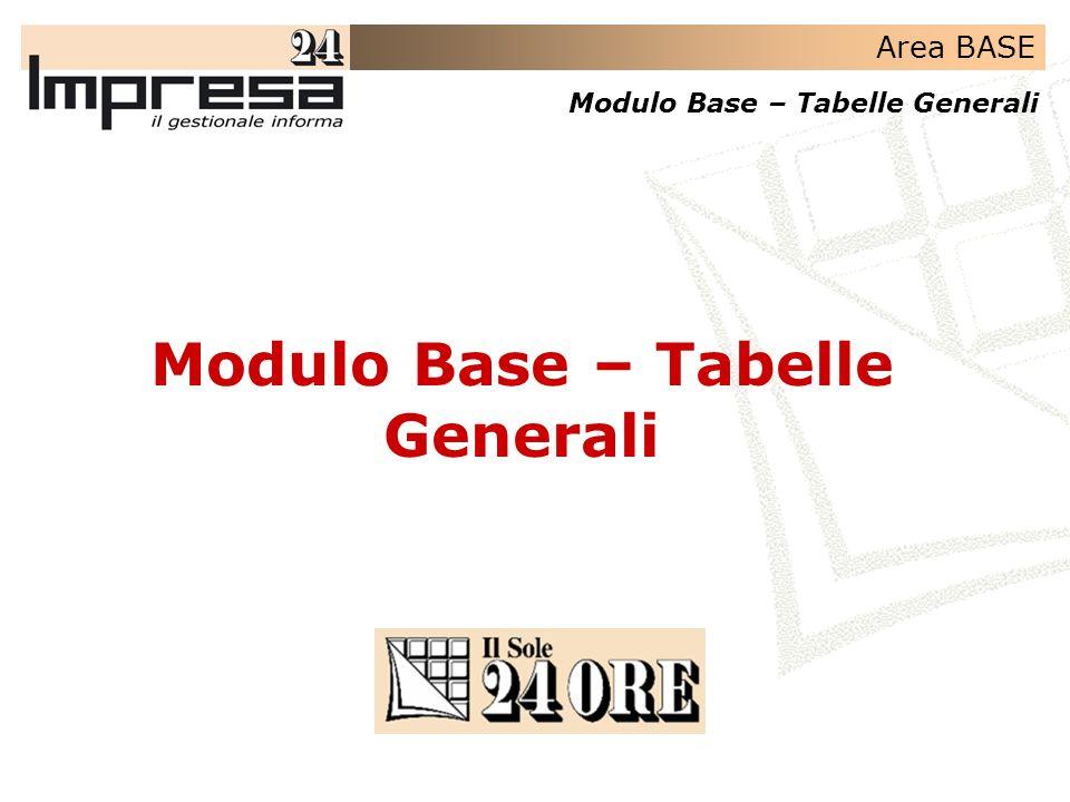 Area BASE Modulo Base – Tabelle Generali