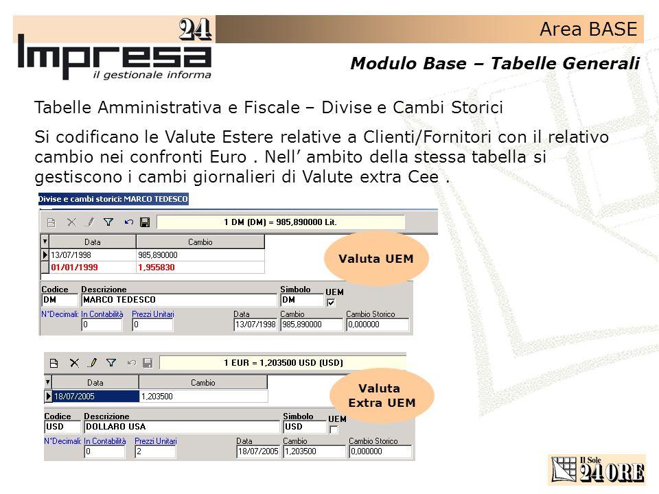 Area BASE Modulo Base – Tabelle Generali Tabelle Amministrativa e Fiscale – Divise e Cambi Storici Si codificano le Valute Estere relative a Clienti/F
