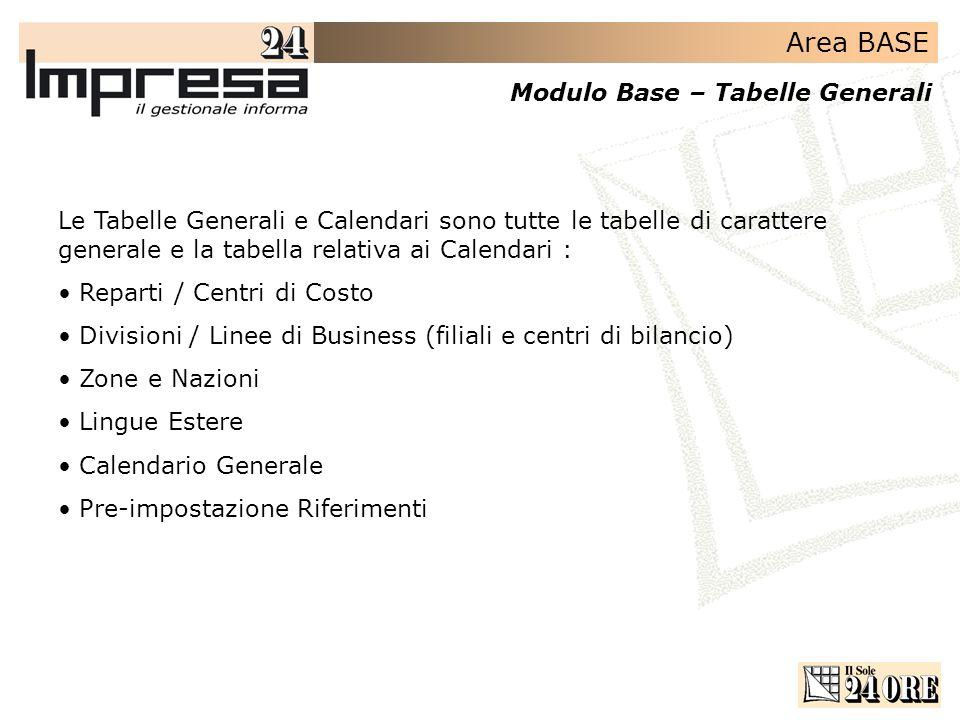 Area BASE Modulo Base – Tabelle Generali Le Tabelle Generali e Calendari sono tutte le tabelle di carattere generale e la tabella relativa ai Calendar