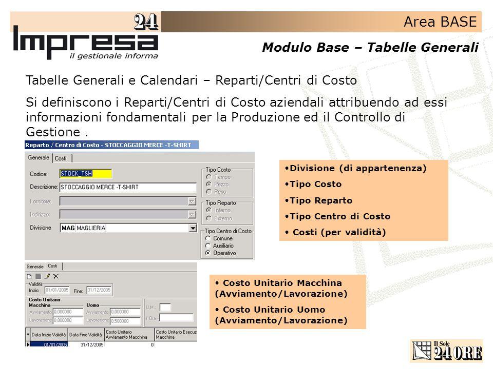 Area BASE Modulo Base – Tabelle Generali Tabelle Generali e Calendari – Reparti/Centri di Costo Si definiscono i Reparti/Centri di Costo aziendali att