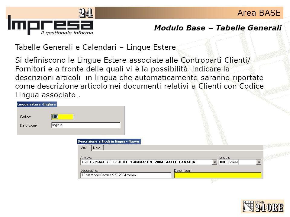 Area BASE Modulo Base – Tabelle Generali Tabelle Generali e Calendari – Lingue Estere Si definiscono le Lingue Estere associate alle Controparti Clien