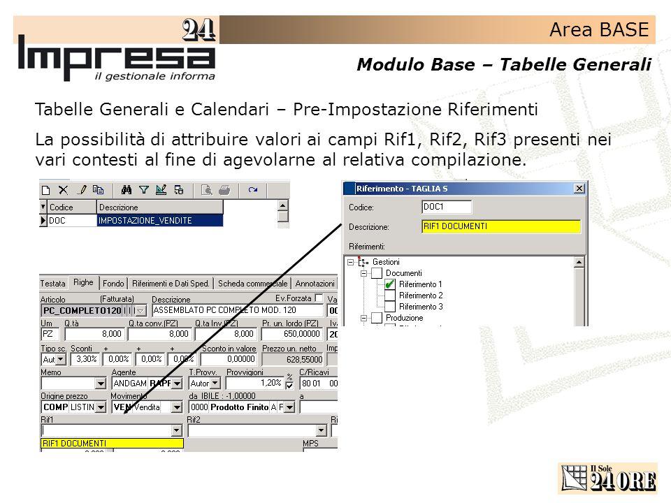 Area BASE Modulo Base – Tabelle Generali Tabelle Generali e Calendari – Pre-Impostazione Riferimenti La possibilità di attribuire valori ai campi Rif1