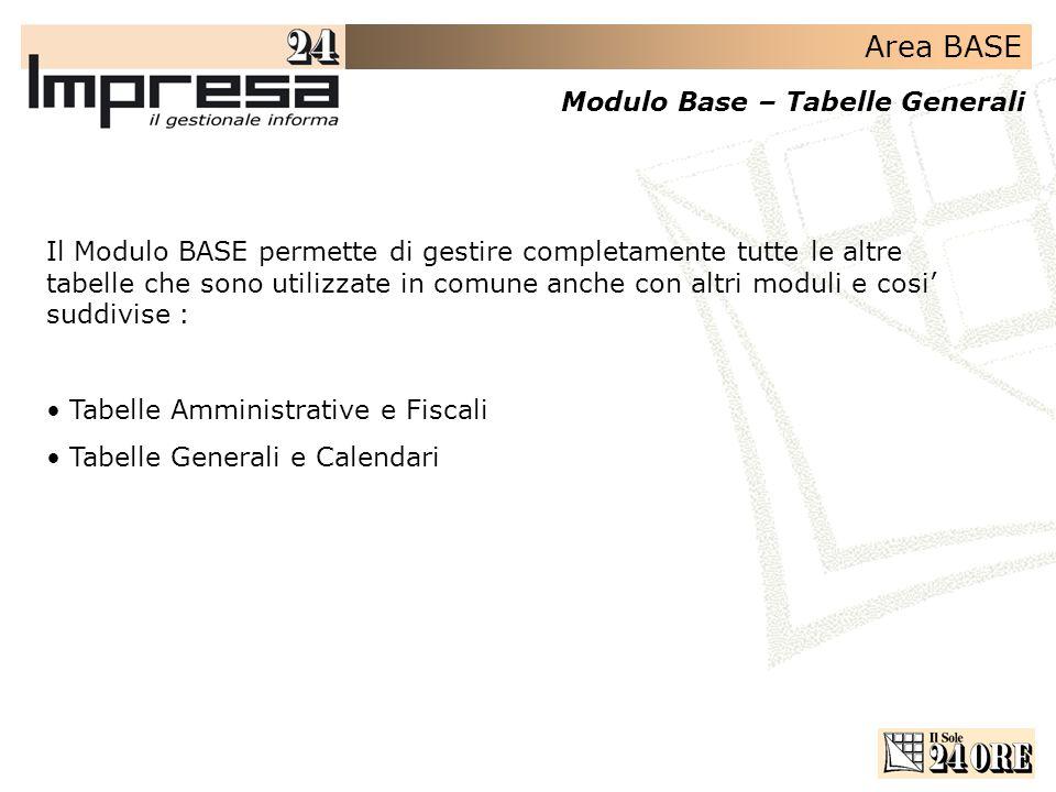 Area BASE Modulo Base – Tabelle Generali Il Modulo BASE permette di gestire completamente tutte le altre tabelle che sono utilizzate in comune anche c