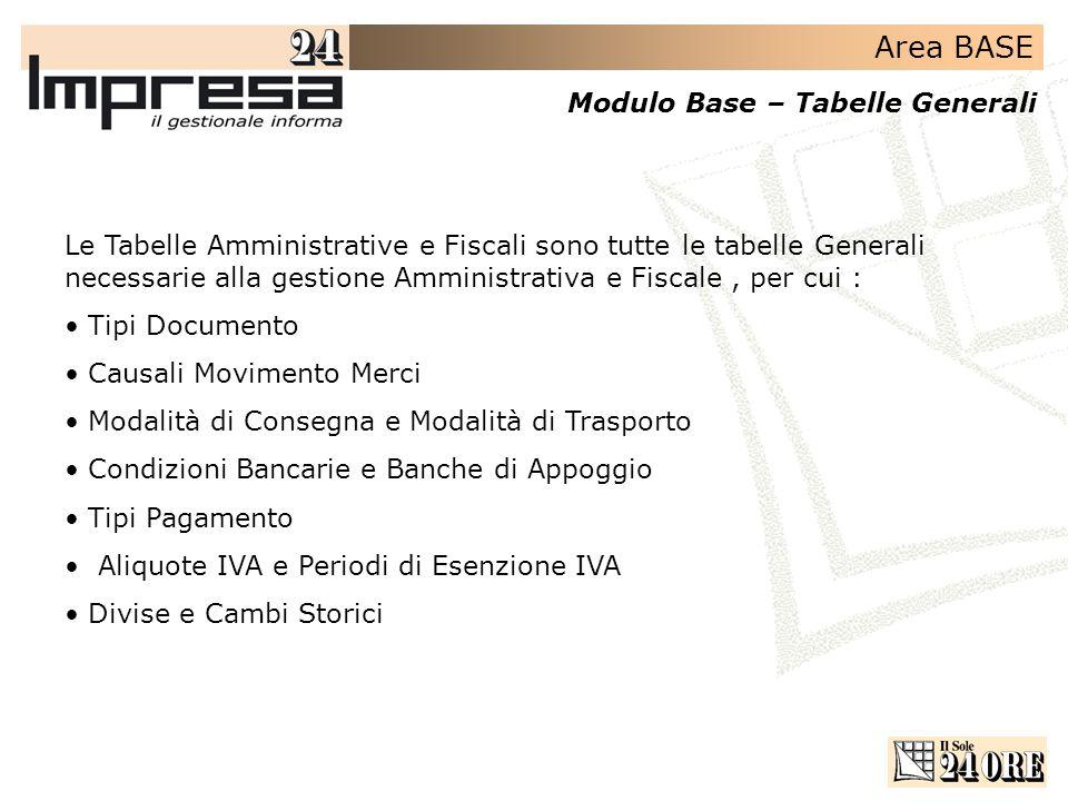 Area BASE Modulo Base – Tabelle Generali Le Tabelle Amministrative e Fiscali sono tutte le tabelle Generali necessarie alla gestione Amministrativa e