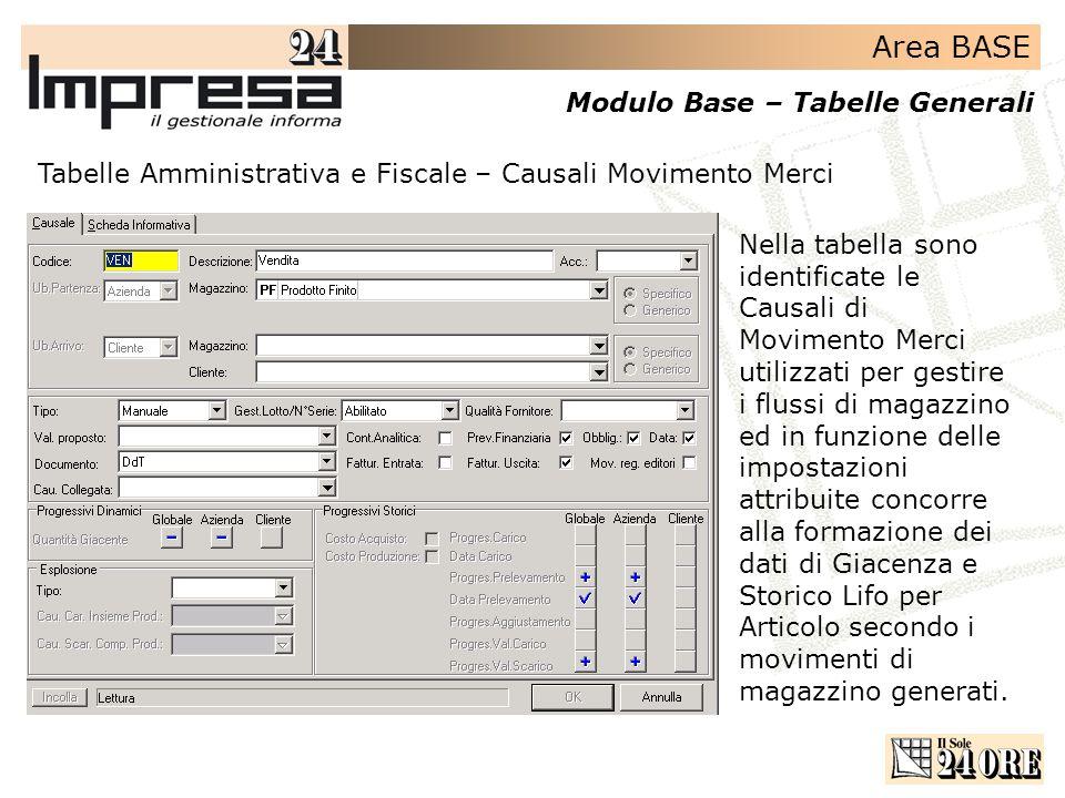 Area BASE Modulo Base – Tabelle Generali Tabelle Amministrativa e Fiscale – Causali Movimento Merci Nella tabella sono identificate le Causali di Movi