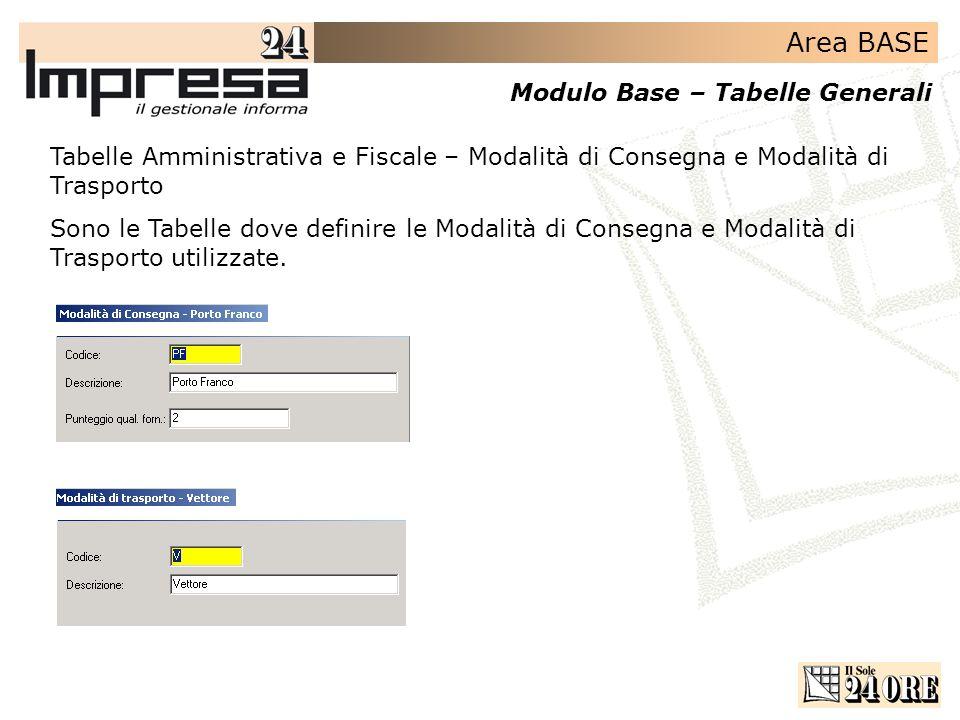 Area BASE Modulo Base – Tabelle Generali Tabelle Amministrativa e Fiscale – Modalità di Consegna e Modalità di Trasporto Sono le Tabelle dove definire