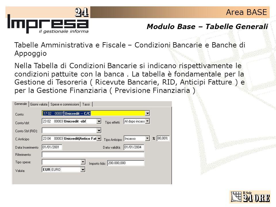 Area BASE Modulo Base – Tabelle Generali Tabelle Amministrativa e Fiscale – Condizioni Bancarie e Banche di Appoggio Nella Tabella di Condizioni Banca
