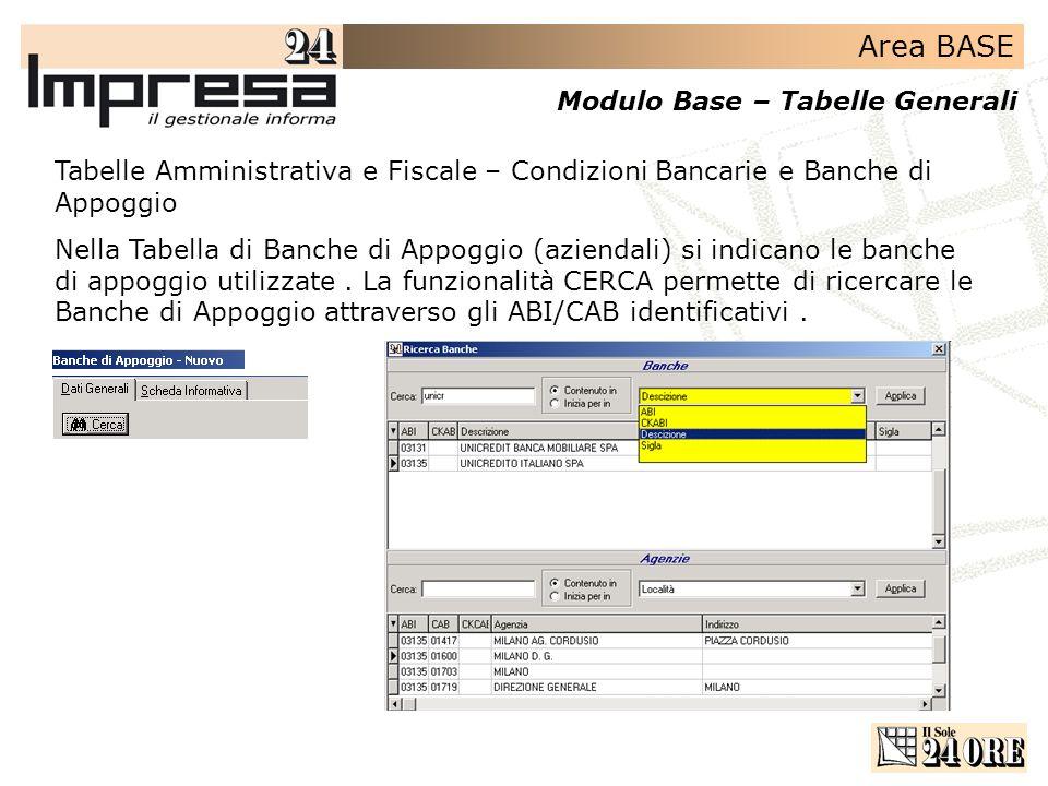 Area BASE Modulo Base – Tabelle Generali Tabelle Amministrativa e Fiscale – Condizioni Bancarie e Banche di Appoggio Nella Tabella di Banche di Appogg