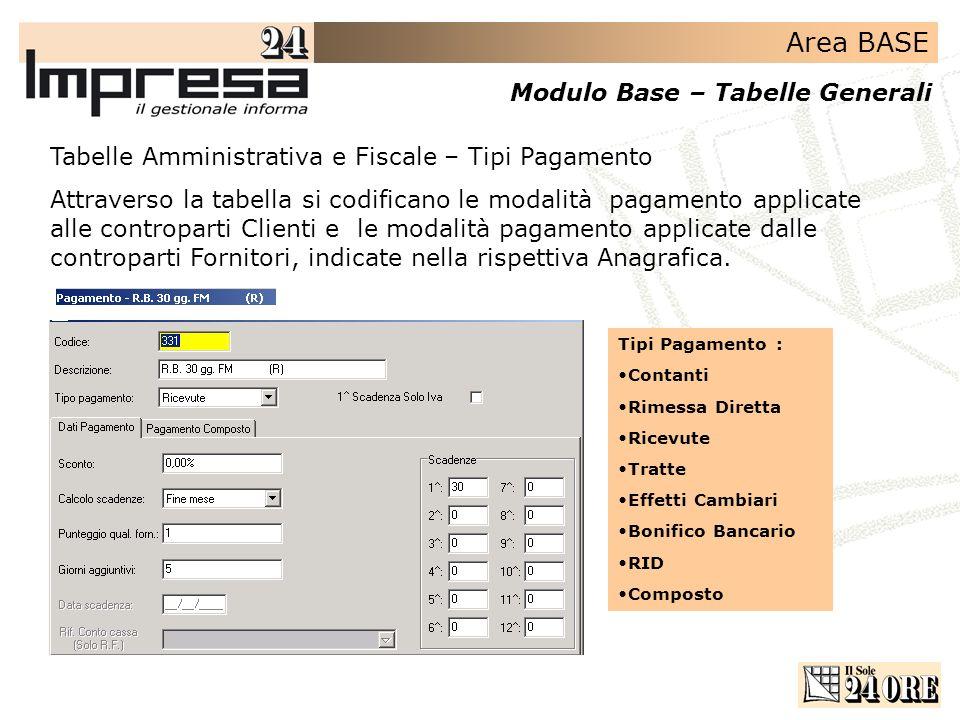 Area BASE Modulo Base – Tabelle Generali Tabelle Amministrativa e Fiscale – Tipi Pagamento Attraverso la tabella si codificano le modalità pagamento a