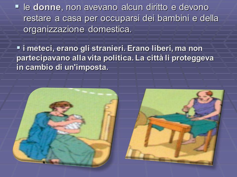 le donne, non avevano alcun diritto e devono restare a casa per occuparsi dei bambini e della organizzazione domestica. le donne, non avevano alcun di