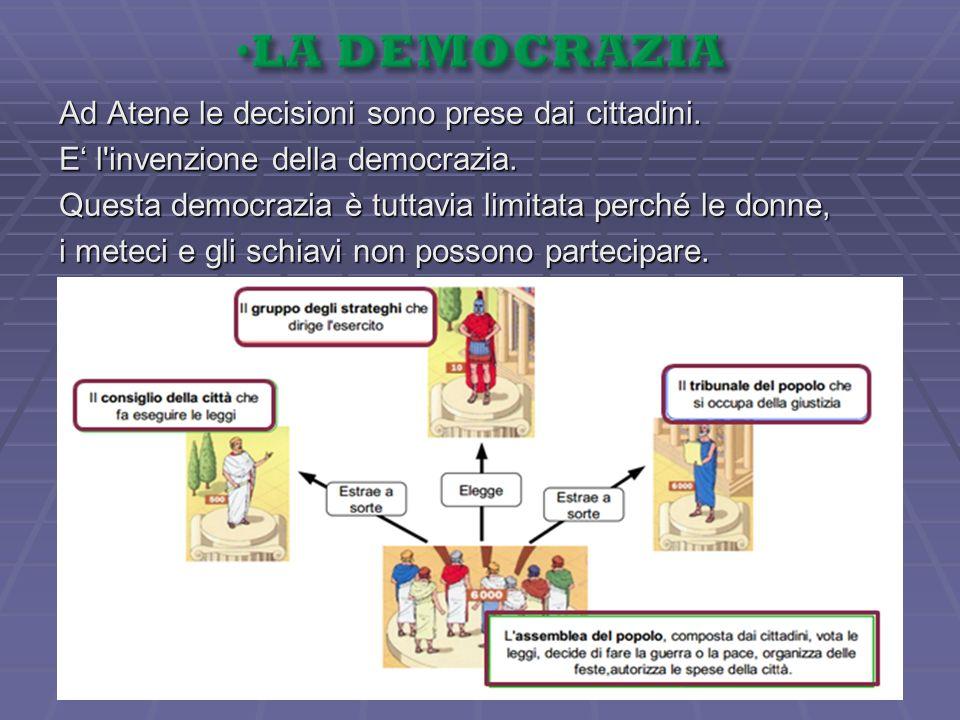 Ad Atene le decisioni sono prese dai cittadini. E l'invenzione della democrazia. Questa democrazia è tuttavia limitata perché le donne, i meteci e gli