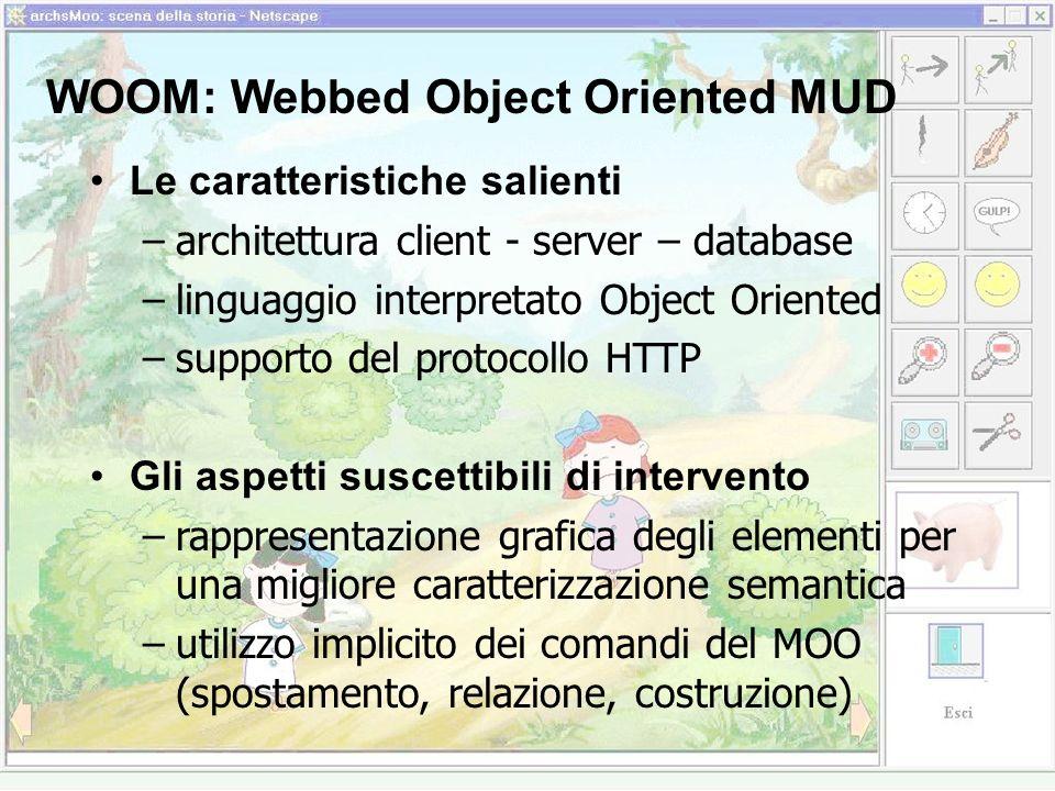 WOOM: Webbed Object Oriented MUD Le caratteristiche salienti –architettura client - server – database –linguaggio interpretato Object Oriented –supporto del protocollo HTTP Gli aspetti suscettibili di intervento –rappresentazione grafica degli elementi per una migliore caratterizzazione semantica –utilizzo implicito dei comandi del MOO (spostamento, relazione, costruzione)