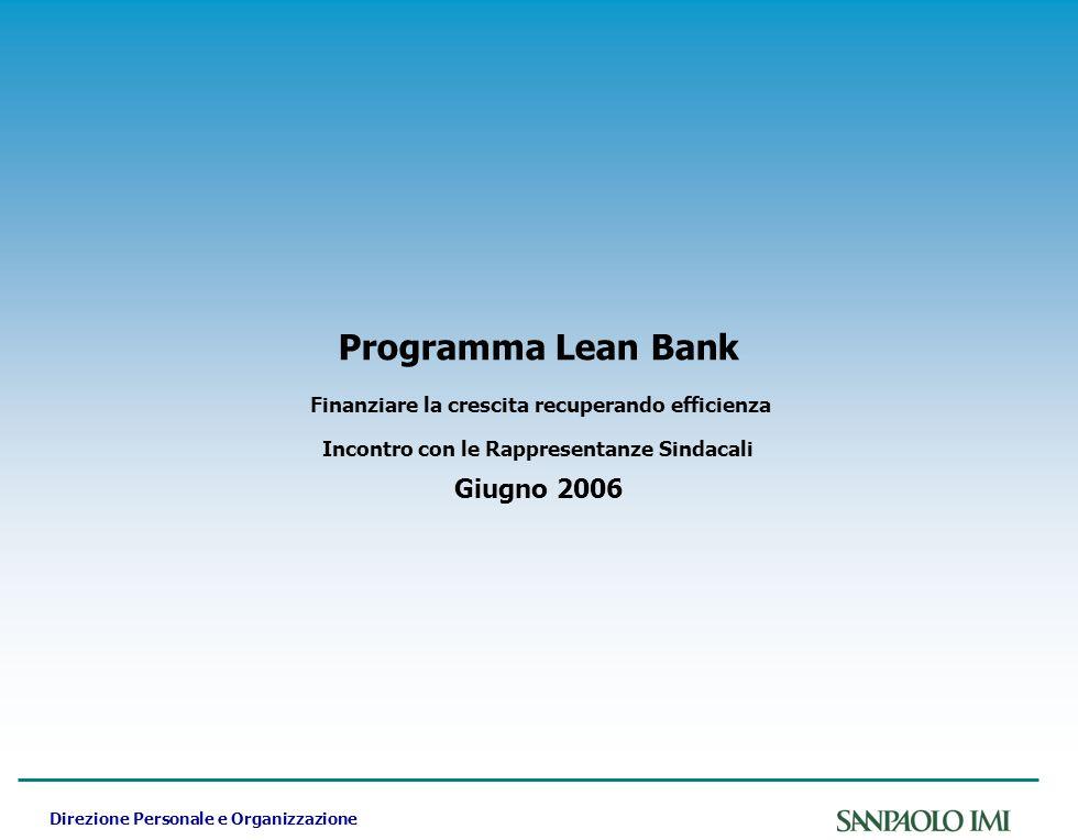 Direzione Personale e Organizzazione Programma Lean Bank Finanziare la crescita recuperando efficienza Incontro con le Rappresentanze Sindacali Giugno 2006