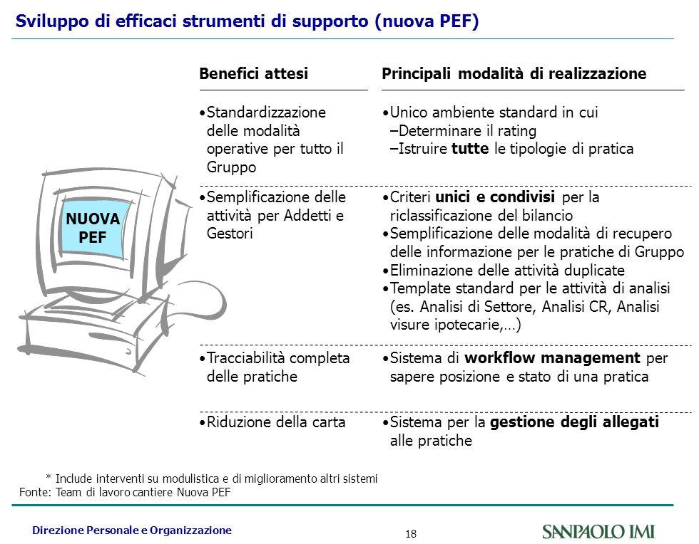 Direzione Personale e Organizzazione 18 Sviluppo di efficaci strumenti di supporto (nuova PEF) *Include interventi su modulistica e di miglioramento a