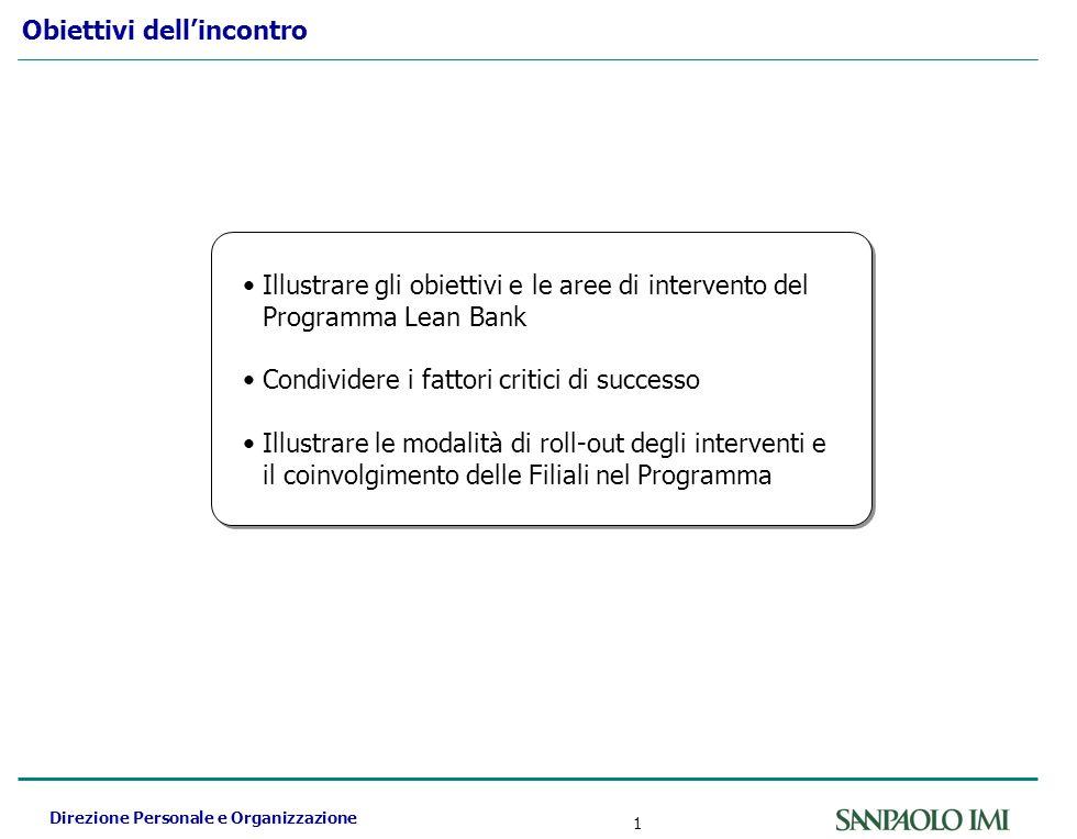 Direzione Personale e Organizzazione 1 Obiettivi dellincontro Illustrare gli obiettivi e le aree di intervento del Programma Lean Bank Condividere i f