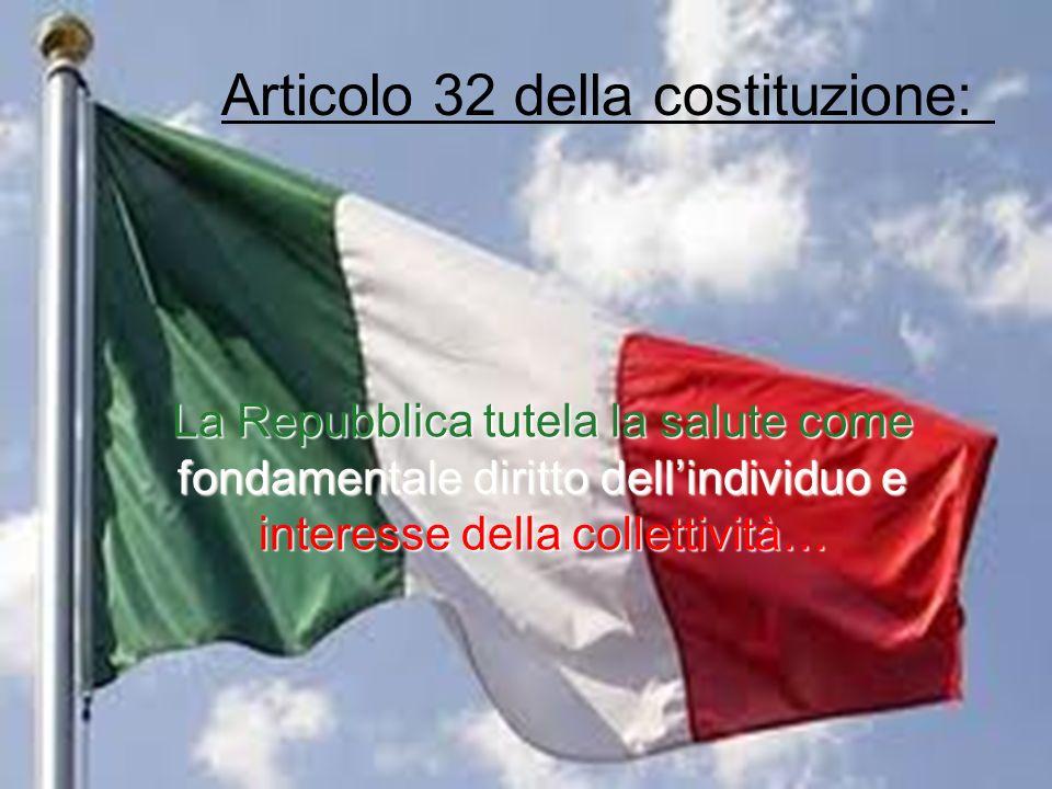 Articolo 32 della costituzione: La Repubblica tutela la salute come fondamentale diritto dellindividuo e interesse della collettività…