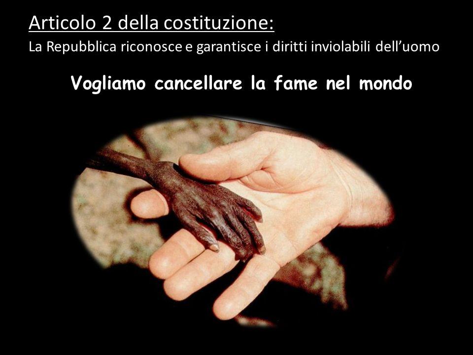 Vogliamo cancellare la fame nel mondo Articolo 2 della costituzione: La Repubblica riconosce e garantisce i diritti inviolabili delluomo…