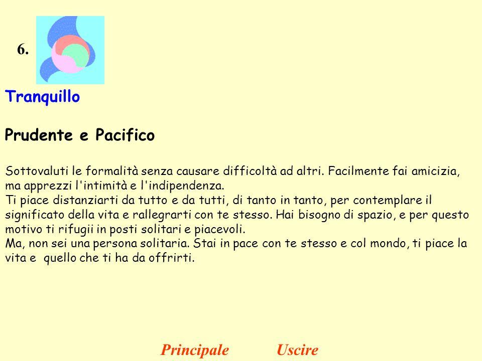 6. Tranquillo Prudente e Pacifico Sottovaluti le formalità senza causare difficoltà ad altri. Facilmente fai amicizia, ma apprezzi l'intimità e l'indi