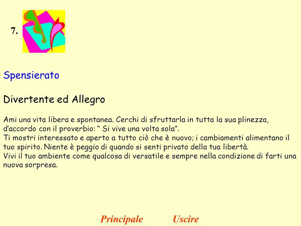 7. Spensierato Divertente ed Allegro Ami una vita libera e spontanea. Cerchi di sfruttarla in tutta la sua plinezza, daccordo con il proverbio: Si viv