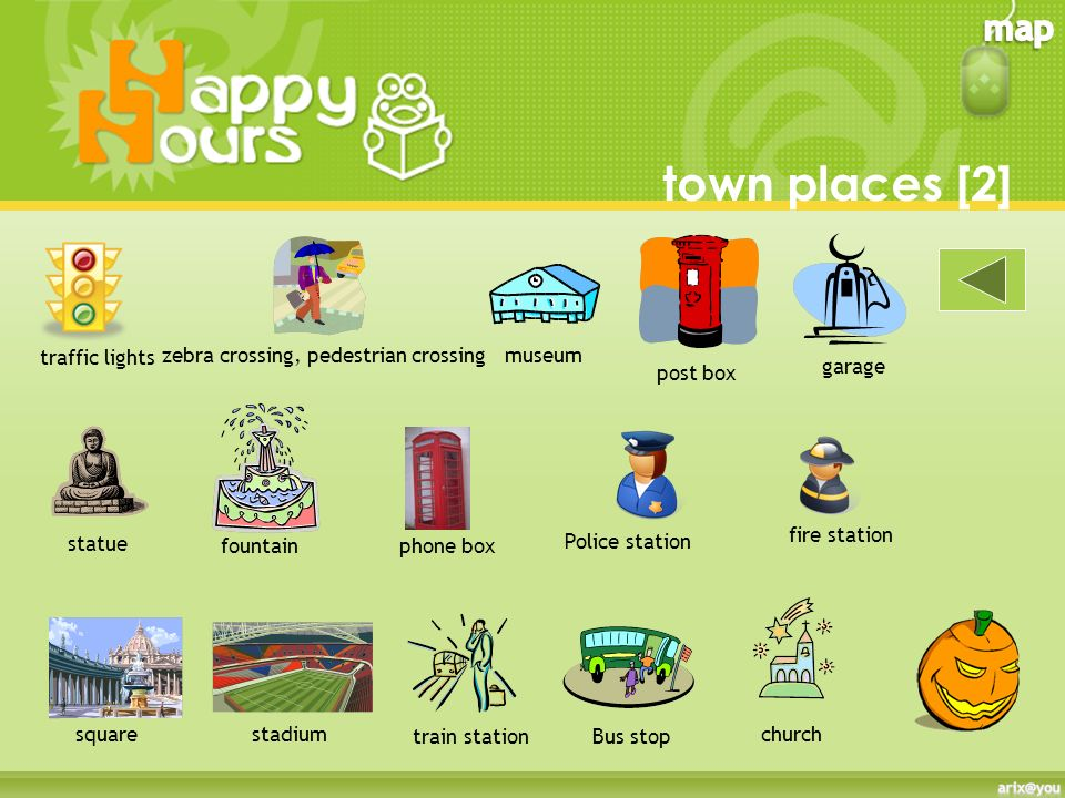 town places [1] School zoo park bank swimming pool shop cafè cinema supermarket post office clothes shop hotel restaurant market hospitalanimal hospit