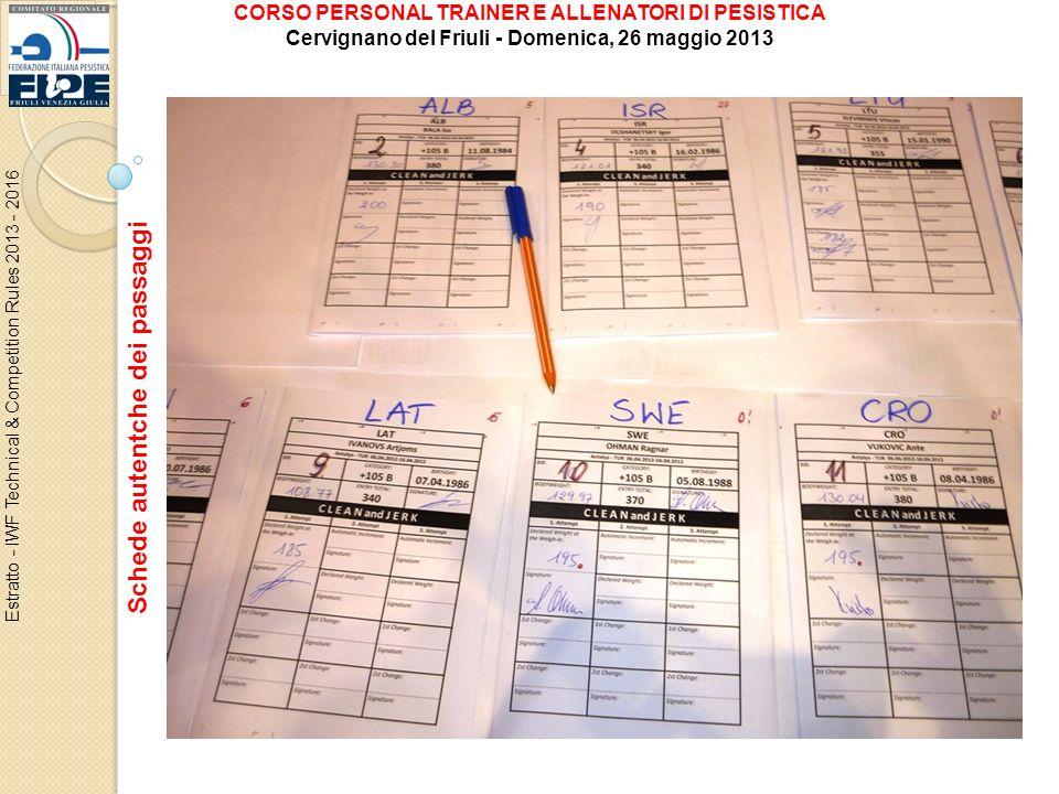Schede autentche dei passaggi Estratto - IWF Technical & Competition Rules 2013 - 2016 CORSO PERSONAL TRAINER E ALLENATORI DI PESISTICA Cervignano del