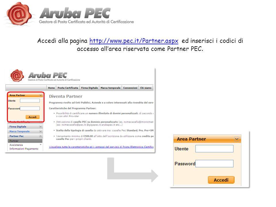 Accedi alla pagina http://www.pec.it/Partner.aspx ed inserisci i codici di accesso allarea riservata come Partner PEC.http://www.pec.it/Partner.aspx
