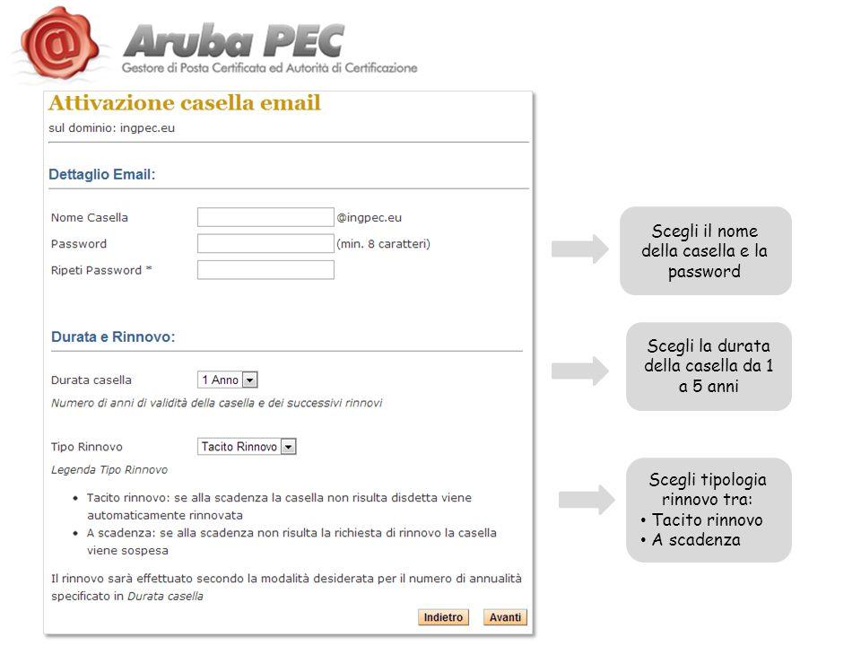Scegli il nome della casella e la password Scegli la durata della casella da 1 a 5 anni Scegli tipologia rinnovo tra: Tacito rinnovo A scadenza