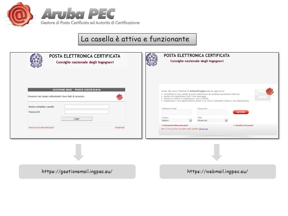 La casella è attiva e funzionante https://gestionemail.ingpec.eu/https://webmail.ingpec.eu/