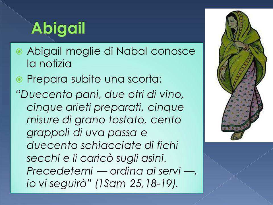 Abigail moglie di Nabal conosce la notizia Prepara subito una scorta: Duecento pani, due otri di vino, cinque arieti preparati, cinque misure di grano tostato, cento grappoli di uva passa e duecento schiacciate di fichi secchi e li caricò sugli asini.