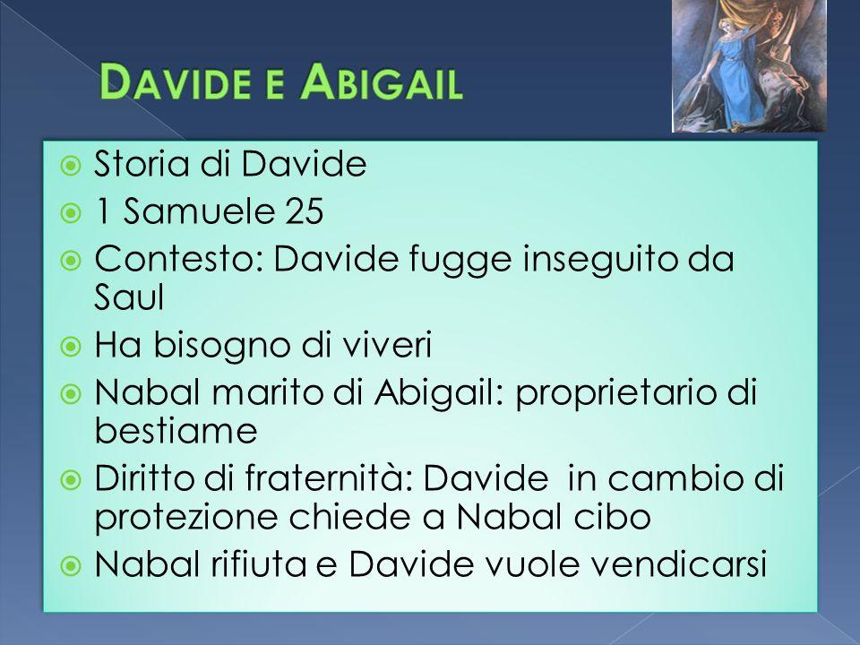 Storia di Davide 1 Samuele 25 Contesto: Davide fugge inseguito da Saul Ha bisogno di viveri Nabal marito di Abigail: proprietario di bestiame Diritto