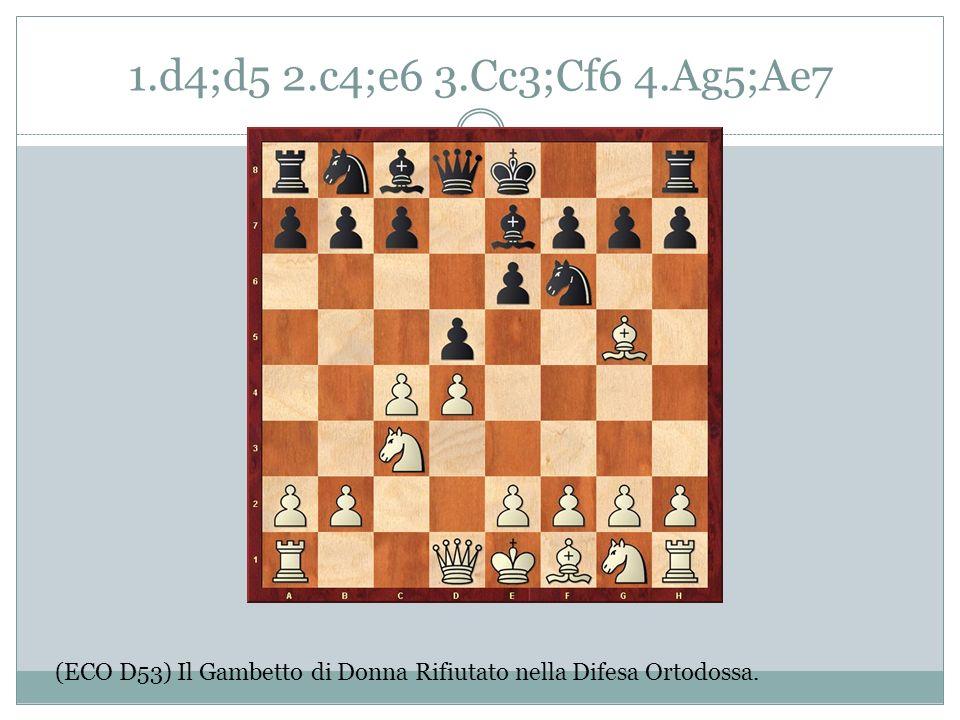 1.d4;d5 2.c4;e6 3.Cc3;Cf6 4.Ag5;Ae7 (ECO D53) Il Gambetto di Donna Rifiutato nella Difesa Ortodossa.