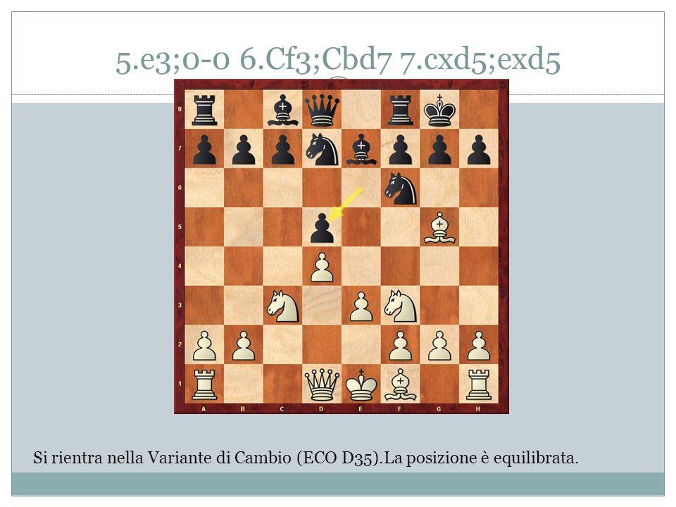 5.e3;0-0 6.Cf3;Cbd7 7.cxd5;exd5 Si rientra nella Variante di Cambio (ECO D35).La posizione è equilibrata.