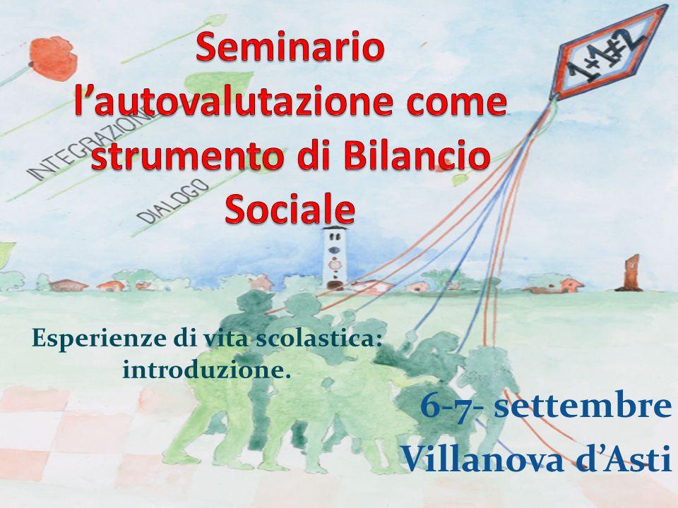 6-7- settembre Villanova dAsti Esperienze di vita scolastica: introduzione.