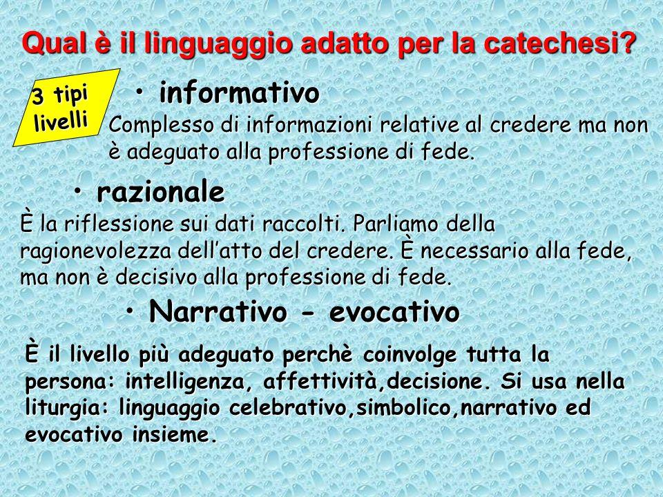 informativoinformativo Qual è il linguaggio adatto per la catechesi? 3 tipi livelli razionalerazionale Narrativo - evocativoNarrativo - evocativo Comp