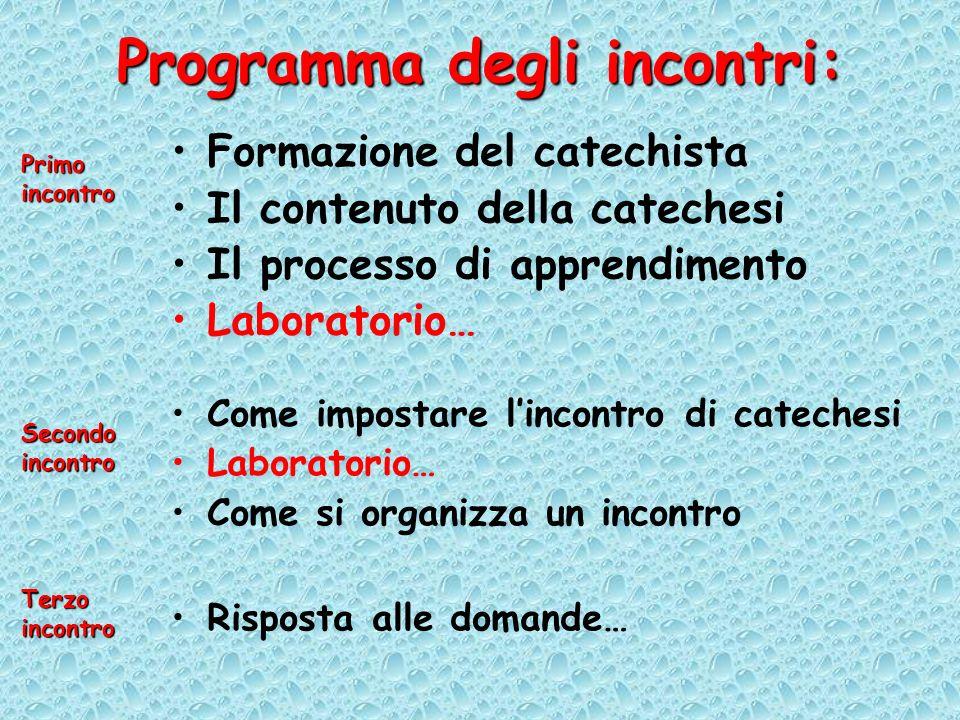 Programma degli incontri: Formazione del catechista Il contenuto della catechesi Il processo di apprendimento Laboratorio… Primo incontro Come imposta