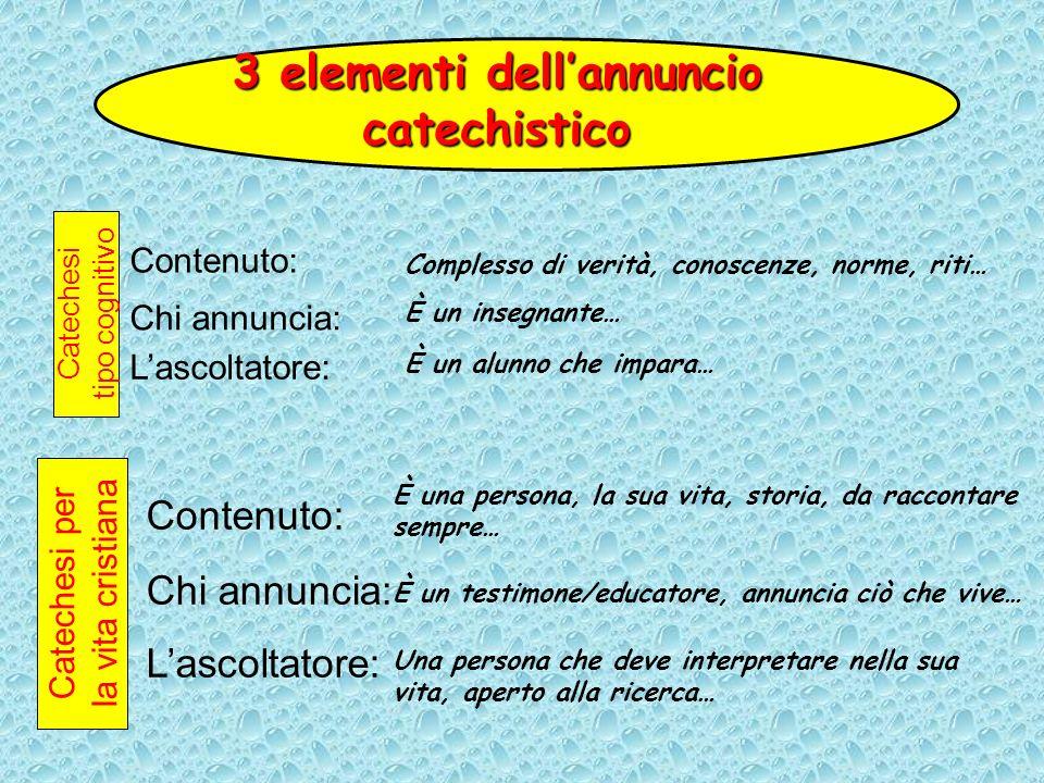 Contenuto: 3 elementi dellannuncio catechistico Complesso di verità, conoscenze, norme, riti… Chi annuncia: Lascoltatore: È un insegnante… È un alunno