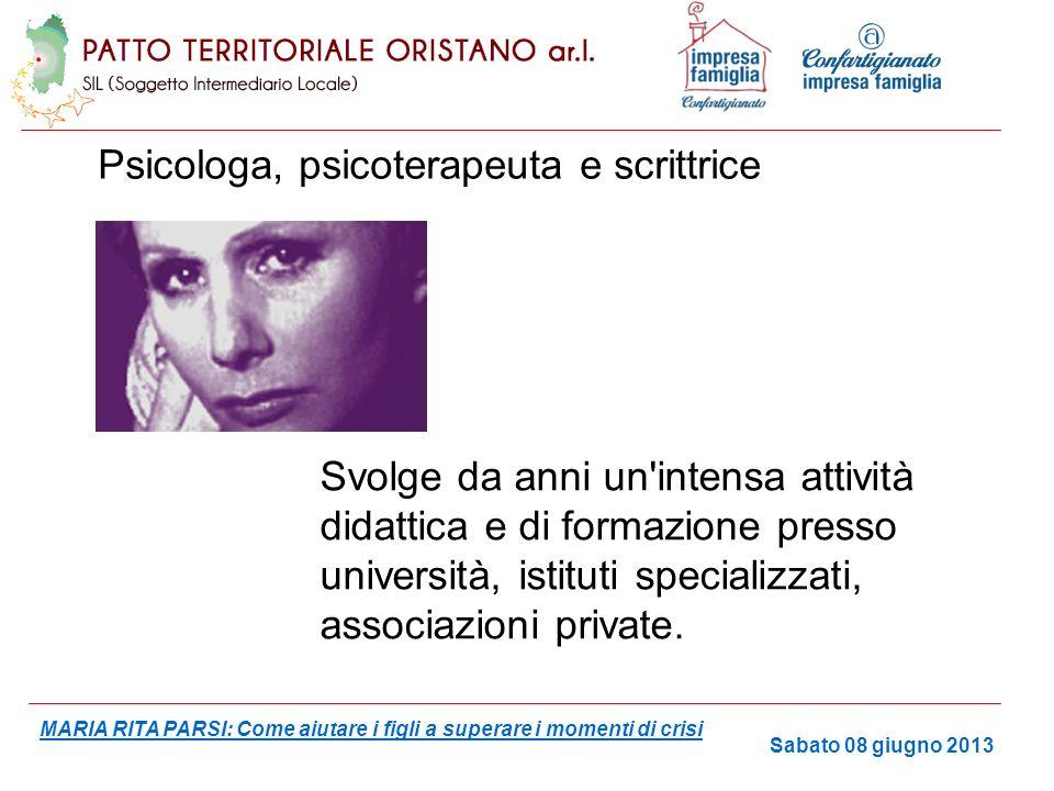 Direttrice della Società Italiana di Psicoanimazione da lei fondata nel 1985 Presidente dal 1992 del Movimento del bambino Collaboratrice di molti quotidiani e periodici con rubriche settimanali.