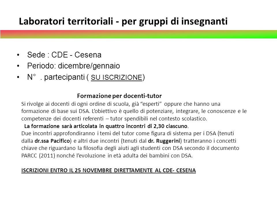 Laboratori territoriali - per gruppi di insegnanti Sede : CDE - Cesena Periodo: dicembre/gennaio N°. partecipanti ( SU ISCRIZIONE ) Formazione per doc