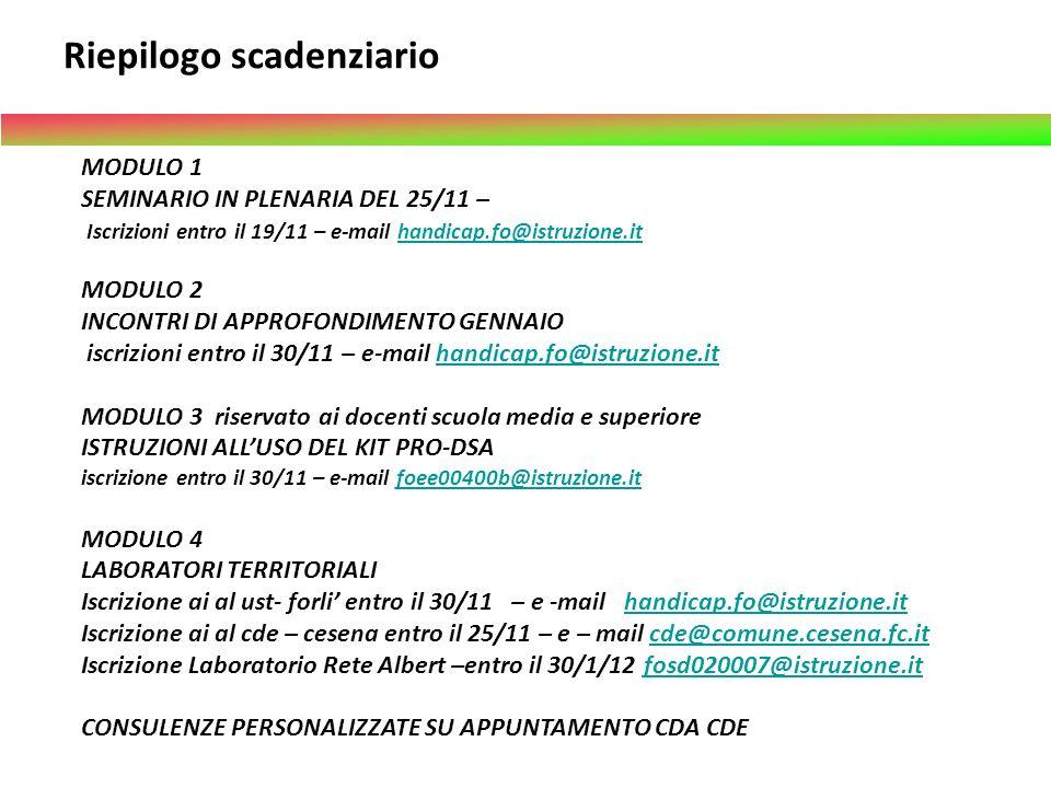 MODULO 1 SEMINARIO IN PLENARIA DEL 25/11 – Iscrizioni entro il 19/11 – e-mail handicap.fo@istruzione.ithandicap.fo@istruzione.it MODULO 2 INCONTRI DI